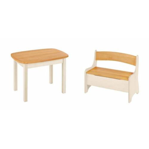 BioKinder - Das gesunde Kinderzimmer Kindersitzgruppe »Levin«, mit Tisch und Sitzbank, Sitzhöhe 30 cm, Erle+Weiß