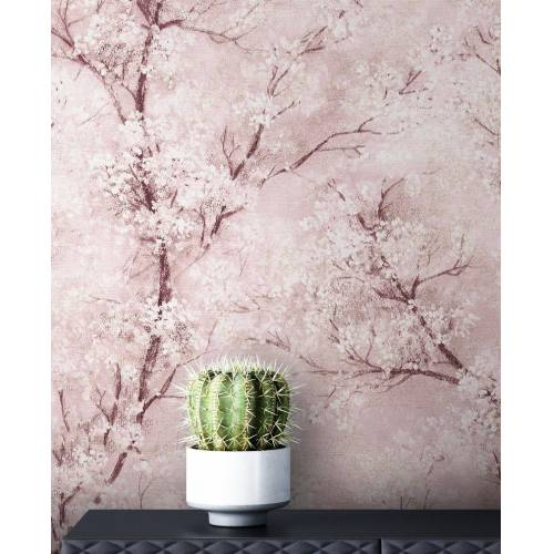 Newroom Vliestapete »Bene Muster 1«, Rosa Tapete Leicht Glänzend Floral - Blumentapete Mustertapete Weiß Grau Baum Modern für Schlafzimmer Wohnzimmer Küche, rosa