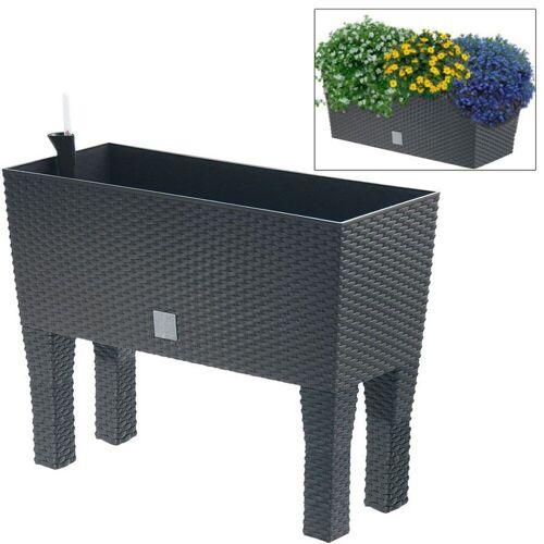 dynamic24 Hochbeet, Polyrattan mit Bewässerung, Blumentopf, Blumenkasten