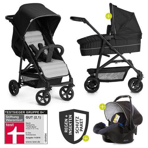 Hauck Kombi-Kinderwagen »Rapid 4 Trio-Set - Caviar Silver«, (9-tlg), 3in1 Kinderwagen-Set Rapid 4 inkl. Babyschale, Regenschutz und Insektenschutz