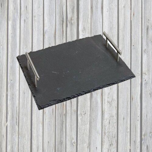 Airbrush-City Servier-Set »Schiefer Buffet-Platte, Servierplatte, Schieferplatte, Käseplatte 30x20 cm mit Griff naturbelassen«