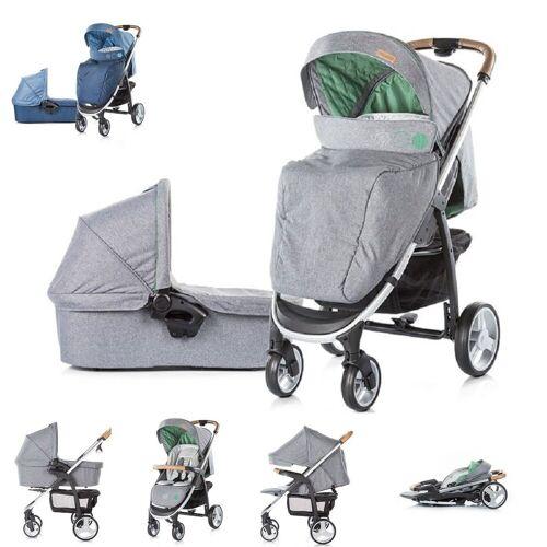 Chipolino Kombi-Kinderwagen »Kinderwagen Avenue 2 in 1«, Ein-Hand-Faltsystem, Babywanne, Sportaufsatz, grau