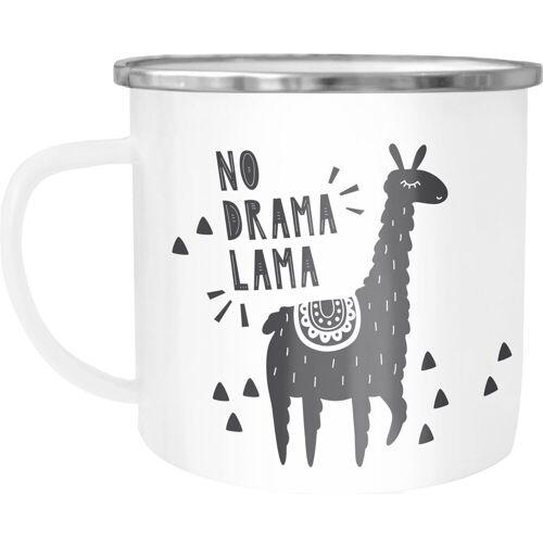 MoonWorks Tasse »Emaille-Tasse mit Spruch No Drama Lama Motiv Print Emaille-Becher lustig ®«, emailliert und mit Aufdruck