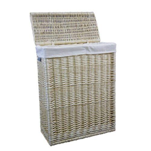 animal-design Wäschekorb, Wäschekorb ca. 48 L Weide weiss Wäschesammler Wäschebox Wäschetruhe Nischenwäschekorb