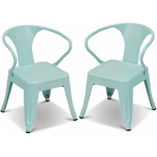 COSTWAY Kindersitzgruppe »Kindersitzgruppe«, (2-tlg), 2er-Set Kinderstühle, mit Rückenlehne (2 Stühle), blau