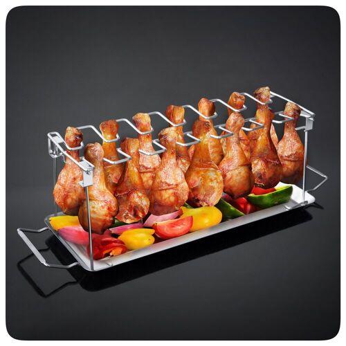 PRECORN Hähnchenbräter »BBQ Hähnchenschenkel Halter mit Auffangschale für Grill Backofen Hähnchen Grill Ständer für 14 Keulen«