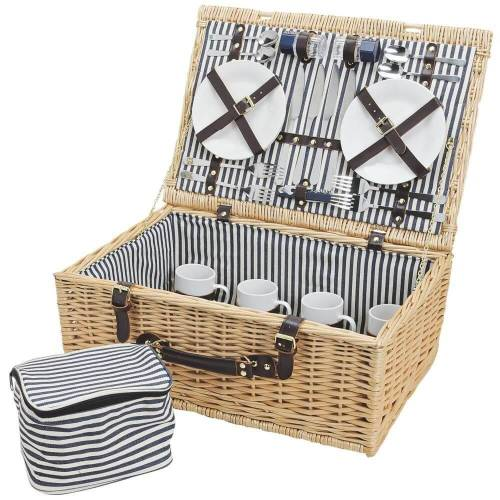 matches21 HOME & HOBBY Picknickkorb »Picknickkorb Weidenkorb 25-tlg. Blau / weiß«, Für 4 Personen / Geschirr, Besteck, Zubehör, Kühltasche