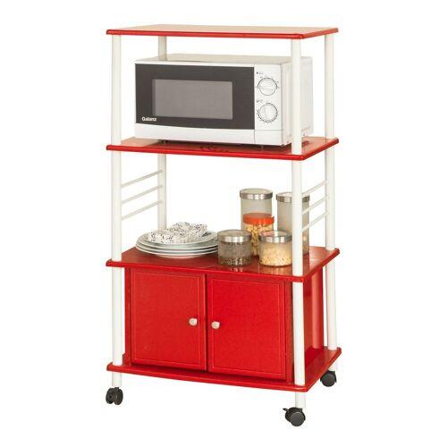 SoBuy Küchenwagen »FRG12«, Küchenschrank Rollschrank Mikrowellenschrank, rot