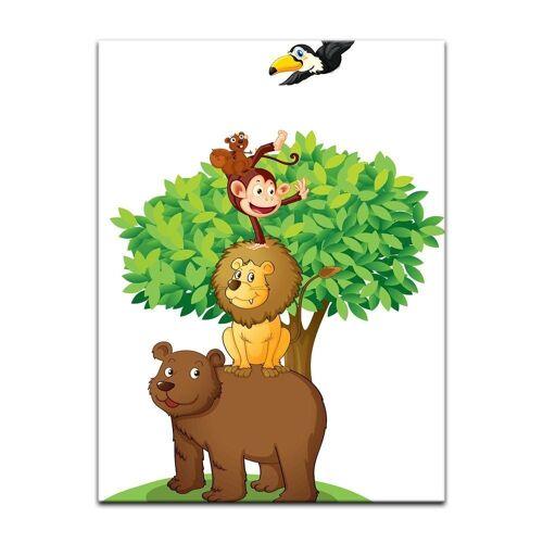 Bilderdepot24 Leinwandbild, Leinwandbild - Kinderbild - Baum mit Tieren II