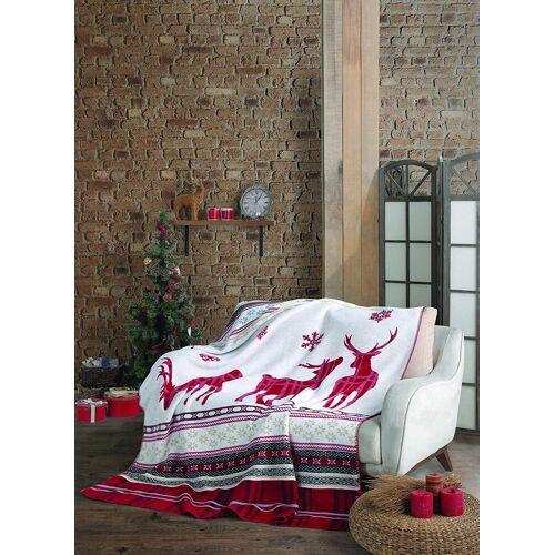 SEI Design Wohndecke »Weihnachten Rentier red«, , Plaid Kuscheldecke
