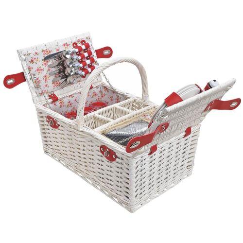matches21 HOME & HOBBY Picknickkorb »Picknickkorb Weidenkorb 24-tlg. Rosa / bunt«, Für 4 Personen / Geschirr, Besteck, Zubehör, Kühltasche