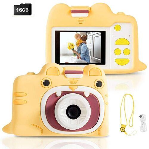 COSTWAY »Kinder Digitalkamera Videokamera« Kinderkamera (18MP/720P HD, inkl. Trageband, 16GB-Speicherkarte, mit Schutzhülle), Gelb