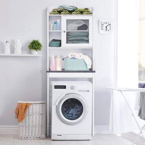 COSTWAY Badregal »Badregal Waschmaschinenregal weiß«, mit verstellbarem Regal, weiß