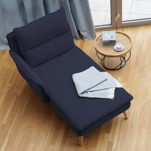 PLACE TO BE. Recamiere, Recamiere Ottomane Chaiselongue Sitzbank Polsterbank Tagesbett Daybed mit Armlehne links, Blau