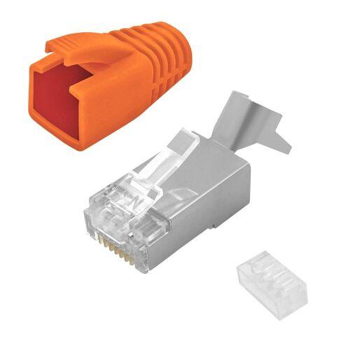 ARLI »Netzwerkstecker« Netzwerk-Adapter RJ45, 50x Netzwerk Stecker mit Zugentlastung, Einführhilfe und Tülle für Verlegekabel Cat7