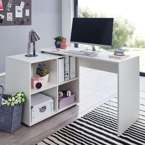 Wohnling Schreibtisch »WL5.303«, Design Eckschreibtisch mit Regal Weiß 117 x 75,5 x 88 cm Moderner Büro-Schreibtisch Computer-Tisch Arbeitszimmer Winkelschreibtisch Home Office