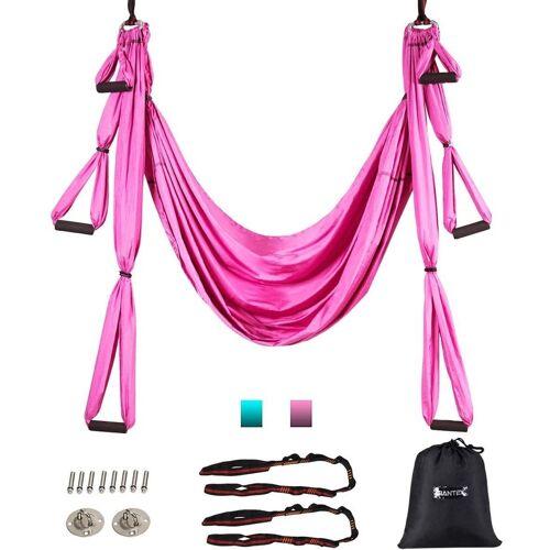 COSTWAY Hängematte »Yoga Schaukel Air Fliegen Hängematte Set«, mit Montagezubehör, rosa