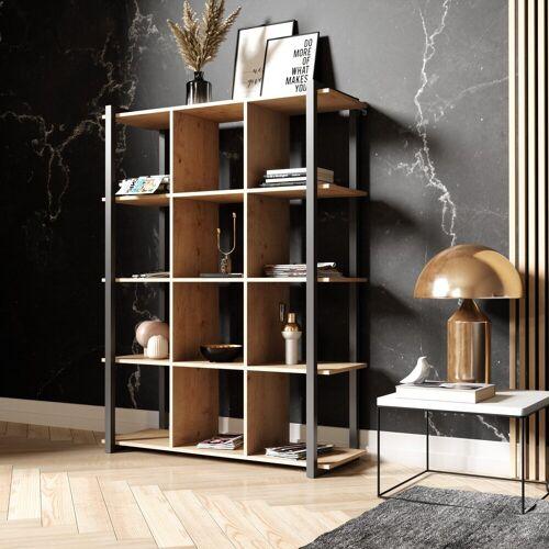 Newroom Bücherregal, Bücherregal Wildeiche Vintage Industrial Standregal Regal Holzregal Wohnzimmer Arbeitszimmer Schlafzimmer