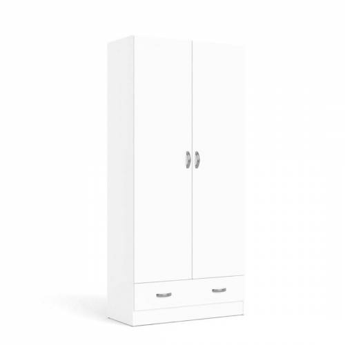 ebuy24 Kleiderschrank »Fox Kleiderschrank 2 Türen und 1 Schublade weiss.«
