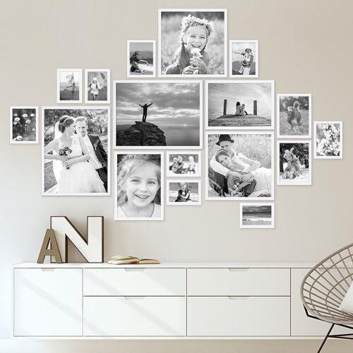 PHOTOLINI Bilderrahmen »17er Set Modern 10x15 bis 30x40 cm Weiss«