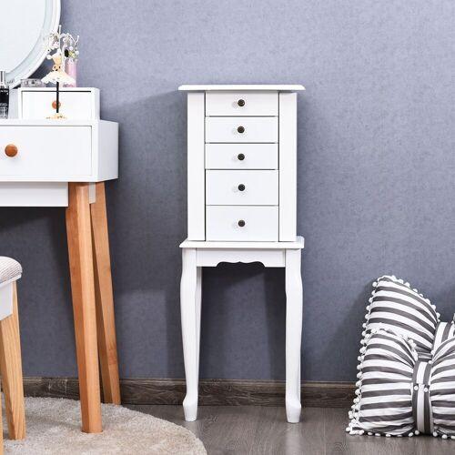 COSTWAY Schmuckschrank »Aufbewahrungswürfel Aufbewahrungskiste« mit Spiegel & Schubladen, weiß