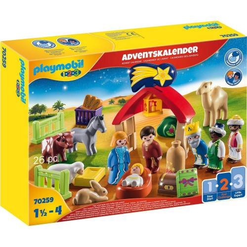 Playmobil Adventskalender »Weihnachtskrippe (70259), Playmobil 1-2-3« (26-tlg)