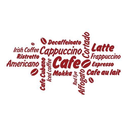 dekodino Wandtattoo »Kaffee Kaffeesorten mit Kaffeebohnen« (1 Stück), 67 - dark red