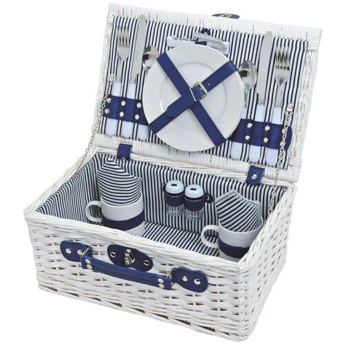 matches21 HOME & HOBBY Picknickkorb »Picknickkorb Weidenkorb 16-tlg. Blau / weiß«, Für 2 Personen / Geschirr, Besteck, Zubehör