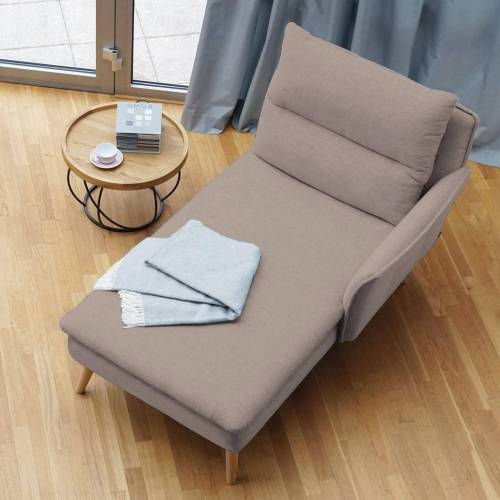 PLACE TO BE. Recamiere, Recamiere Ottomane Chaiselongue Sitzbank Polsterbank Tagesbett Daybed mit Armlehne rechts, Sand