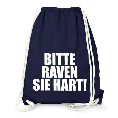 MoonWorks Turnbeutel »Techno Turnbeutel, Bitte Raven Sie Hart!, Party Feiern Sprüche Techno ®«, navy