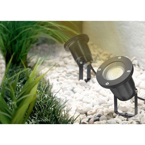 TRANGO LED Gartenstrahler, 1-flammig 3078B Strahler IP65 Außenleuchte *ELLA* inkl. 1x 3 Watt GU10 LED Leuchtmittel – 3000K warmweiß & 3,0 Meter Zuleitungskabel als Teichstrahler, Gartenlampe, Außenlampe, Wegbeleuchtung