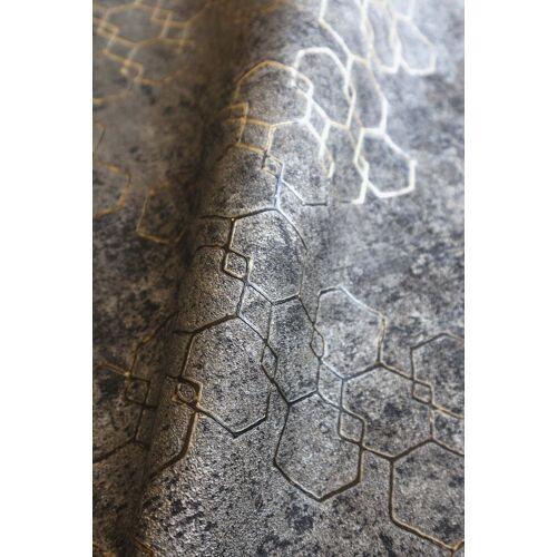 Newroom Vliestapete, Schwarz Tapete Leicht Glänzend Modern - Mustertapete Metalic Gold Grau Hexagon Grafisch für Schlafzimmer Wohnzimmer Küche