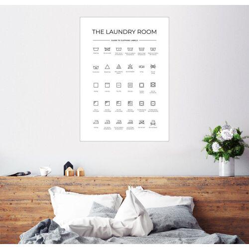 Posterlounge Wandbild, Wasch- & Pflegesymbole (englisch)