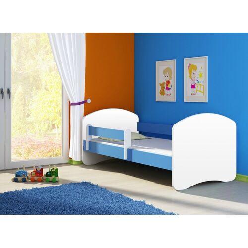 Clamaro Kinderbett (Kinderbett Fantasia, weiss mit farbigem Seitenteil, Kinder, Bett, mit oder ohne Schublade), 04 Blau