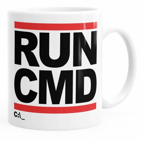 MoonWorks Tasse »Kaffee-Tasse RUN CMD Nerd Geek Computer-Freak Tasse einfarbig ®«