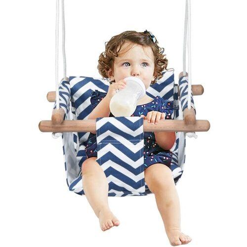 COSTWAY Babyschaukel »Baby Schaukelsitz Kinderschaukel Türrahmen Schaukel«, Blau+Weiß