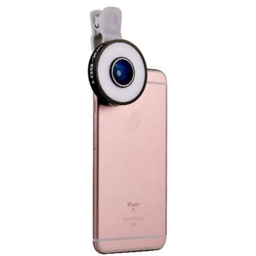 PRECORN »LED Selfie Kamera in der Farbe schwarz Handylicht 6 in 1 Multi LED Objektiv für iPhone 5, 6 plus 6 S Samsung Smartphones uvm. Clip-on Blitzlicht Fischaugen-Objektiv 10X Makro, 0.65X Weitwinkel Objektiv« Weitwinkelobjektiv