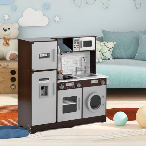 Merax Spielküche Holz, Kinderküche aus Holz Spielzeugset, braun
