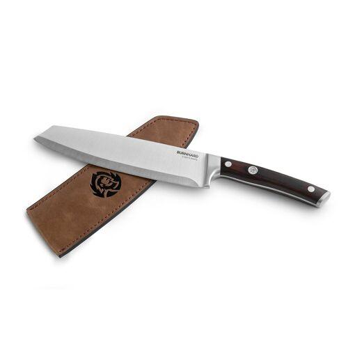 BURNHARD Steakmesser »Messer mit Pakka-Holzgriff«, inkl. Messerscheide aus Leder, Küchenmesser, Küchenmesser