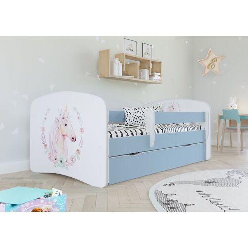 Bjird Kinderbett, mit Rausfallschutz Matratze und Schublade, blau