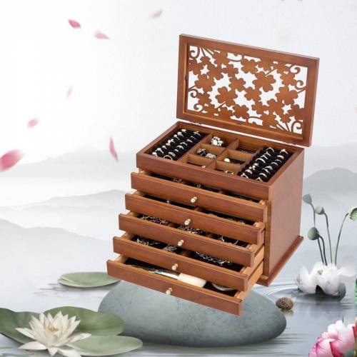 COSTWAY Schmuckkasten »Schmuckkästchen Schmuckschatulle«, 6 Ebenen, aus Kiefer, braun