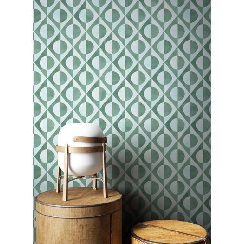 Newroom Vliestapete, Blau Tapete Modern Kreise - Mustertapete Retrotapete Grün Retro Geometrisch Grafik Muster für Wohnzimmer Schlafzimmer Küche, grün
