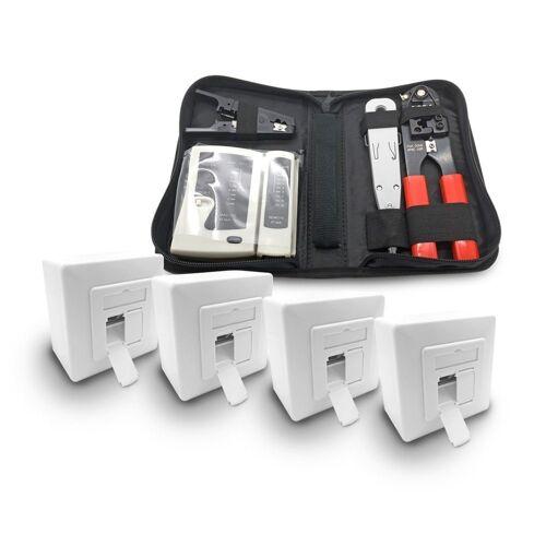 ARLI Netzwerk-Adapter, 4x Cat6a Netzwerkdose 2 Port + Werkzeugset / Crimpzange Rj45 + Tester + LSA + Kabelmesser Werkzeug Set
