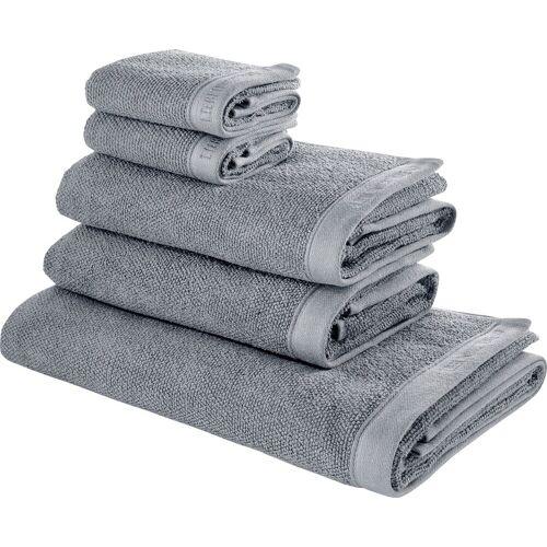 COUCH♥ Handtuch Set »Voll Flauschig« (Set, 5-tlg), mit Logo Stickerei, grau
