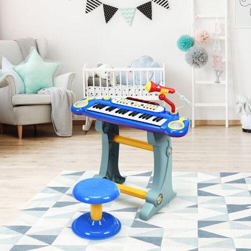 COSTWAY Keyboard »Kinder Keyboard«, 37 Tasten, inkl. Mikrofon, mit Ständer&Lichter, Blau, Blau
