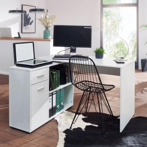 Wohnling Schreibtisch »WL5.305«, Design Eckschreibtisch mit Regal Weiß 120 x 75,5 x 106,5 cm Moderner Büro-Schreibtisch Computer-Tisch Arbeitszimmer Winkelschreibtisch Home Office