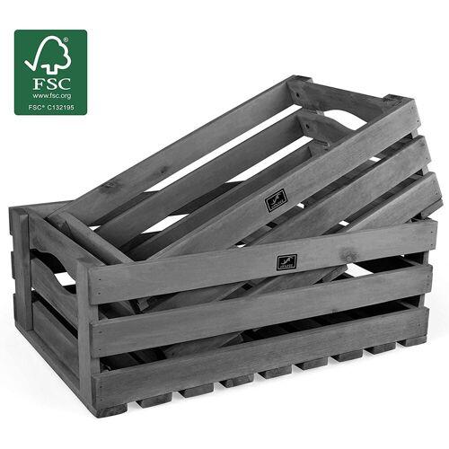 VANAGE Holzkiste »VG-7269«, Aufbewahrungskisten aus Akazienholz, 2er Set