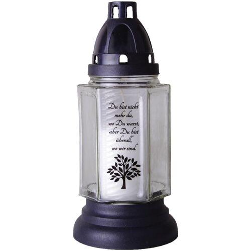 HS Candle Grabkerze (1-tlg), 6eck mit Motiv und Spruch, Grablicht Grabschmuck Grablaterne, Baum Weiß