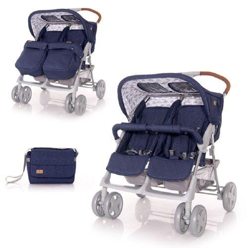 Lorelli Zwillingsbuggy »Zwillingskinderwagen TWIN«, Wickeltasche Einhand-Klappsystem Fußabdeckung, dunkelblau