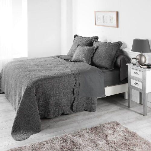 dynamic24 Tagesdecke, , Landhaus Tagesdecke 220x240cm Bettüberwurf Bett Decke Überwurf Paisley Pique, Creme
